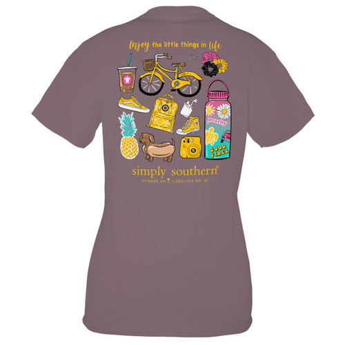 Small Plum Enjoy Short Sleeve Tee by Simply Southern