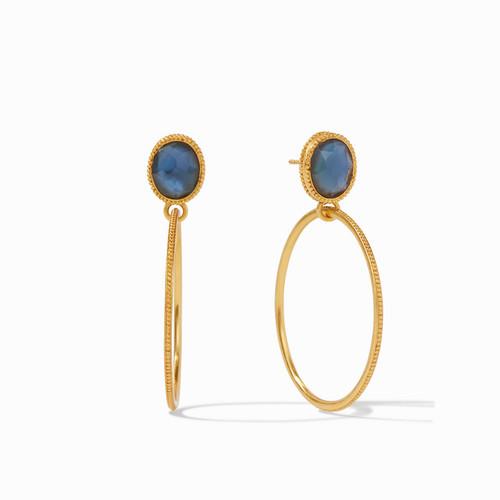 Julie Vos Verona Statement Earrings - Gold Iridescent Azure Blue