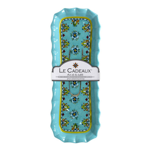Madrid Turquoise Patisserie Tray with Small Tongs Set by Le Cadeaux