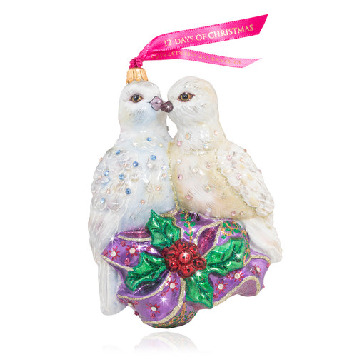 Jay Strongwater Two Turtle Doves Glass Ornament - Special Order