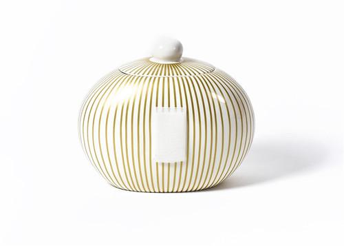 Gold Stripe Big Cookie Jar by Happy Everything!