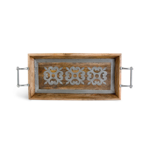 """30"""" Wood Tray w/ Metal Inlay - GG Collection"""