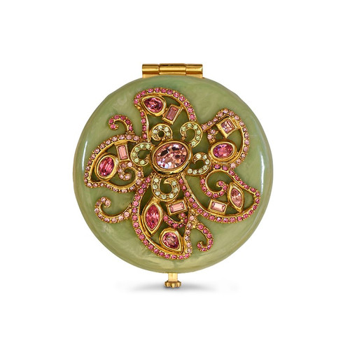 Jay Strongwater Elizabeth Flower Jeweled Compact - Celadon - Special Order