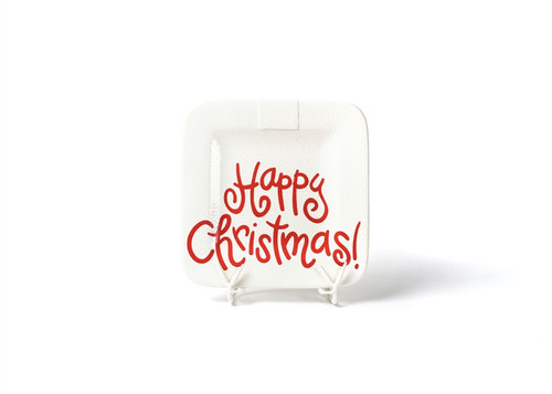 White Small Dot Happy Christmas Mini Square Platter by Happy Everything!