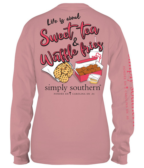 Small Sweet Tea & Waffle Fries Crepe Long Sleeve Tee by Simply Southern
