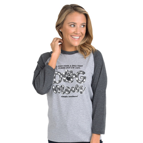Small Dog Mom 100% DNA Heather Gray Dark Gray Vintage by Simply Southern
