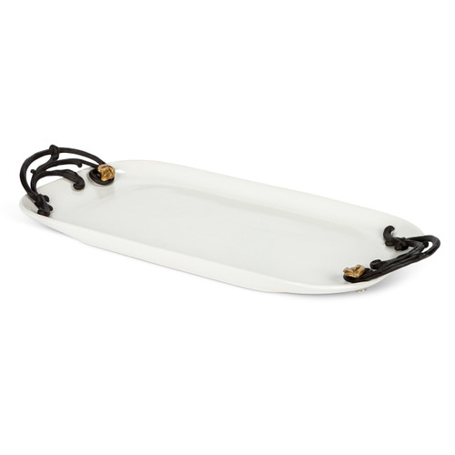 Gold Leaf Ceramic and Metal Tray - GG Collection