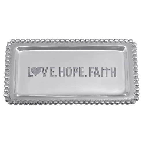 Love, Hope, Faith, Beaded Statement Tray by Mariposa