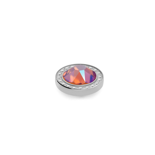 Tangerine Shimmer 10.5mm Silver with Crystal Border Interchangeable Top by Qudo Jewelry