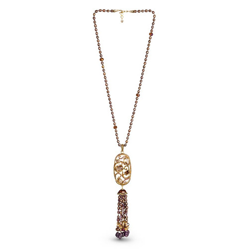 Jay Strongwater Long Scroll Tassel Necklace