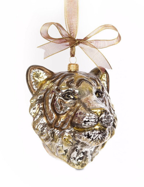 Jay Strongwater Gilded Tiger Head Glass Ornament - Special Order