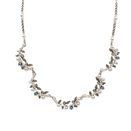 White Pearl Flora Necklace With Glass Pearls 8189 - Firefly Jewelry