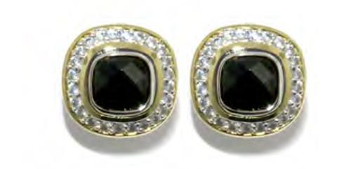 Round Pave Post Clip Earrings - Black - John Medeiros