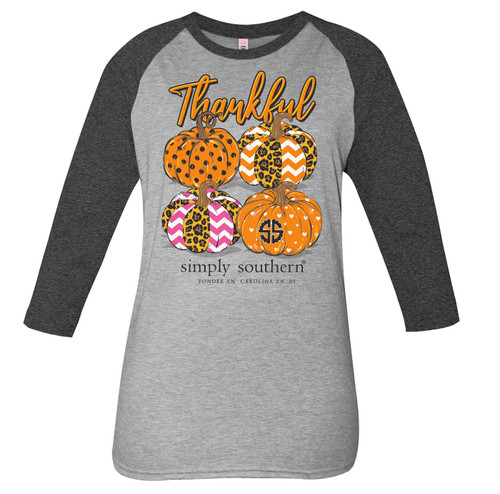 Small Thankful Pumpkins Heather Gray Dark Gray by Simply Southern