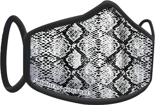 Southern Couture Black & White Snakeskin Face Mask By Couture Tee  Company