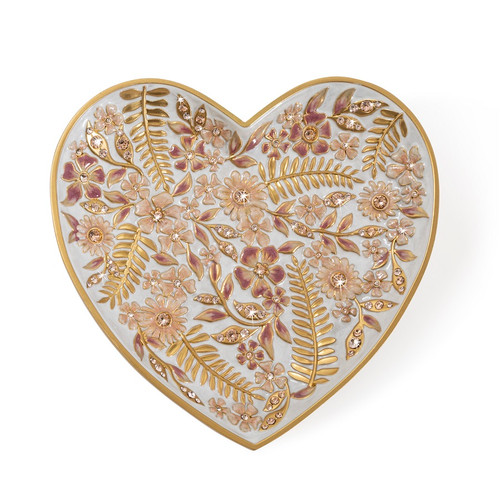 Jay Strongwater Aria Floral Heart Trinket Tray - Special Order