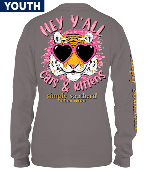 Medium Cats & Kittens Steel YOUTH Long Sleeve Tee by Simply Southern