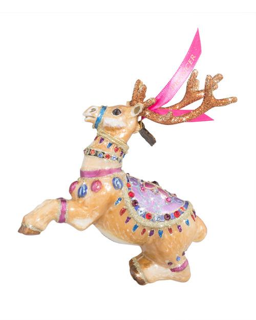 Jay Strongwater Prancer Reindeer Glass Ornament