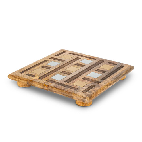 """Laser Weave Mango Wood with Metal Inlay 10"""" Trivet by GG Collection"""