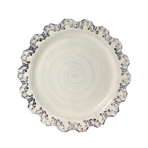 """(A) Baroque Cream Charger Plate 13.75""""D - Set of 4 - Intrada Italy - Special Order"""