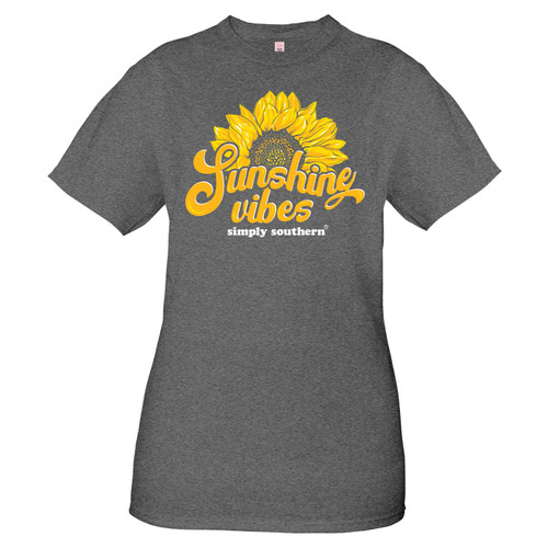 Small Vintage Dark Heather Gray Sunshine Short Sleeve Tee by Simply Southern