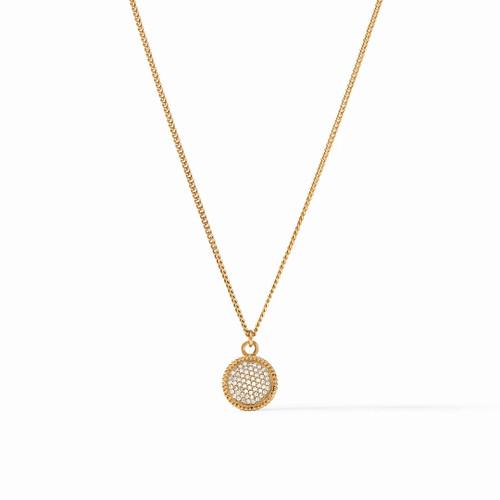Julie Vos Fleur de Lis Solitaire Necklace - Gold Pave Cubic Zirconia Reversible