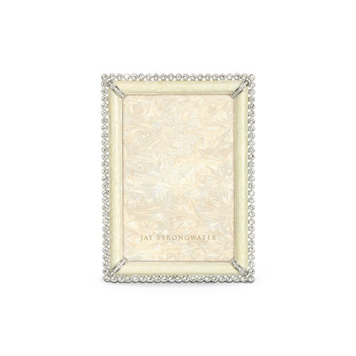 """Jay Strongwater Lorraine Stone Edge 4"""" x 6"""" Square Frame - Pearl - Special Order"""