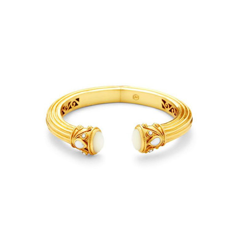 Julie Vos Byzantine Demi Hinge Cuff - Gold - Mother of Pearl and Fresh Water Pearl Accent