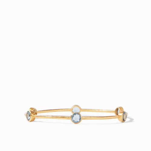 Julie Vos Milano Bangle - Gold Clear Azure Blue -Medium