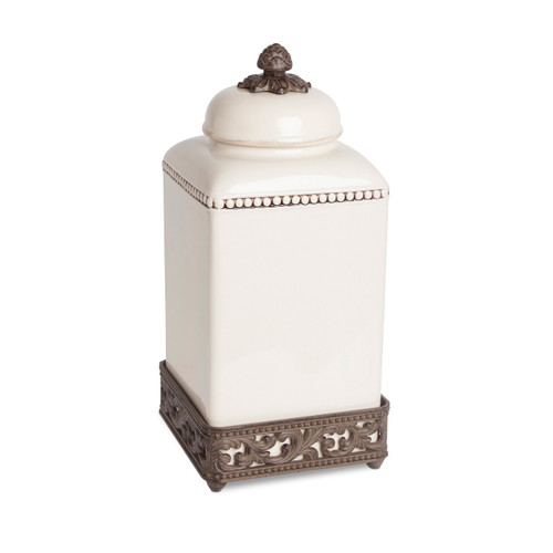 Original Acanthus Leaf Large Cream Canister w/Metal Base - GG Collection