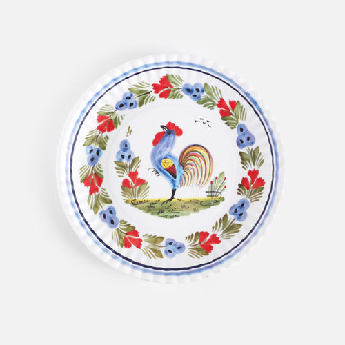"""Rooster """"Paper Plate Look"""" Melamine 9"""" Plate by One Hundred 80 Degrees - Set of 4"""