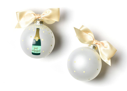 Just Engaged Champagne Pop Glass Ornament by Happy Everything!