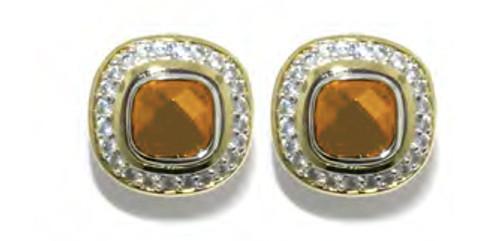 Square Pave Post Clip Earrings - Champange - John Medeiros