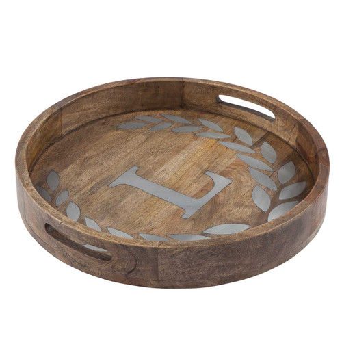 """Heritage Mango Wood with Metal Inlay Monogram 20""""  Tray - L - GG Collection"""