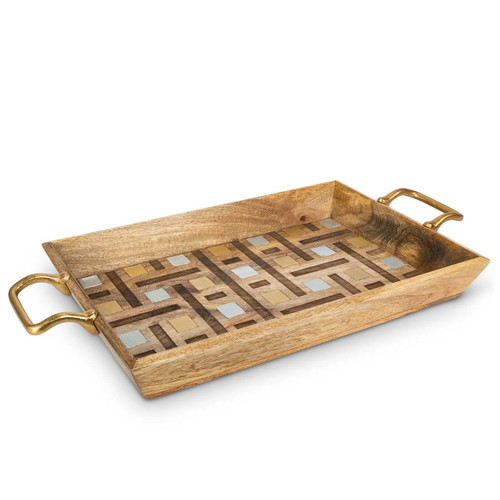 """Laser Weave Mango Wood with Metal Inlay 27"""" Oval Tray by GG Collection"""