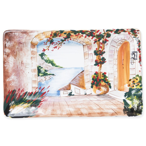 Vietri Landscape Inside Looking Out Rectangular Wall Plate - Special Order