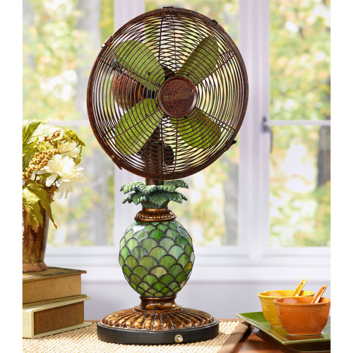 Table Top Fan/Lamp - Mosaic Glass Pineapple - Special Order