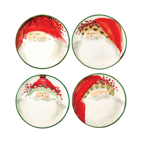 Vietri Old St. Nick Assorted Canape Plates - Set of 4