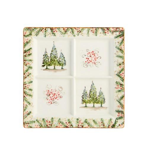 Natale Square Divided Platter - Arte Italica