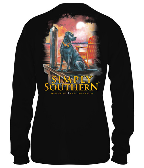 Small Shore Black Unisex Long Sleeve Tee by Simply Southern