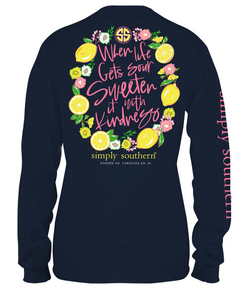Small When Life Gets Sour Midnight Long Sleeve Tee by Simply Southern
