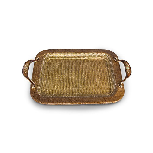Jay Strongwater Abbott Rattan Metal Tray - Special Order