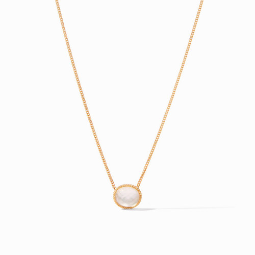 Julie Vos Verona Solitaire Necklace - Gold Iridescent Clear Crystal