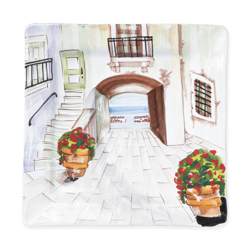 Vietri Landscape Inside Looking Out Square Wall Plate - Special Order