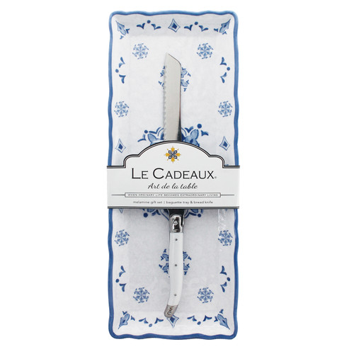 Moroccan Blue Baguette Tray With Bread Knife by Le Cadeaux