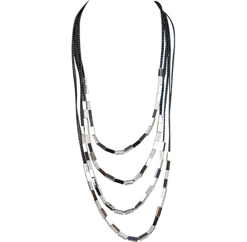 Black Silver Sandblasted Waterfall Necklace by Gillian Julius