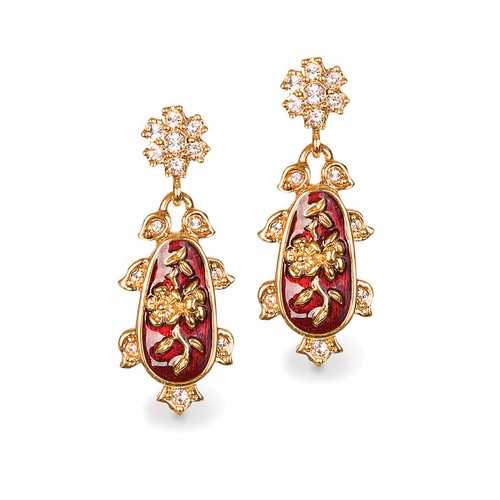 Jay Strongwater Chinoiserie Post Ruby Earrings (Special Order)
