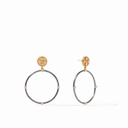 Julie Vos Paris Statement Earrings - Mixed Metal Cz