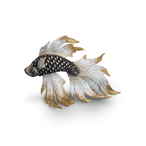 Jay Strongwater Namoko Fighting Fish Figurine - Jet Crystal - Special Order