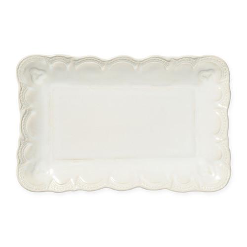 Vietri Incanto Stone Linen Lace Small Rectangular Platter